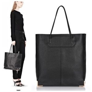 Alexander Wang black leather rose gold tote